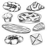 Filhós do pão e da pastelaria, naco longo e torta do fruto queque e bolo ou croissant doce, queque do chocolate mão gravada ilustração stock