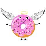 Filhós dos desenhos animados como o anjo com asas e nimbus ilustração stock