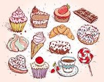 Filhós e café ajustados tirados mão do bolo do gelado do marshmallow dos doces do queque do croissant dos confeitos Imagem de Stock Royalty Free