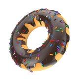 A filhós vitrificada do chocolate grande com cor polvilha rendição 3d Imagens de Stock Royalty Free