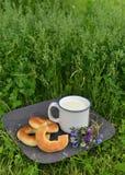 Filhóses, flores e leite no copo na grama Imagens de Stock