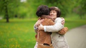 Filha adulta da reunião e sua mãe no parque A morena atrativa está abraçando sua mamã com amor e ternura vídeos de arquivo