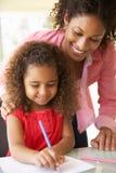 Filha de ajuda da mãe com trabalhos de casa em casa Imagem de Stock Royalty Free