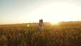 A filha feliz com sua mam? est? andando atrav?s do campo do trigo maduro, o beb? est? amarrotando-se conceito da fam?lia feliz e video estoque