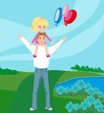 Filha levando do pai em seus ombros Foto de Stock Royalty Free