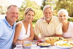 Filho adulto e filha que apreciam a refeição no jardim Imagens de Stock