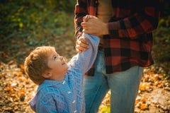 Filho feliz da família, do pai e do bebê que joga e que ri na caminhada do outono fotos de stock