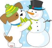 Filhote de cachorro bonito e boneco de neve Foto de Stock Royalty Free