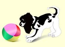 Filhote de cachorro com esfera Imagem de Stock Royalty Free