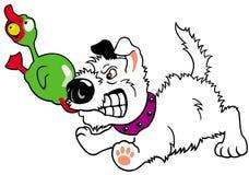 Filhote de cachorro com pato do brinquedo Fotografia de Stock Royalty Free