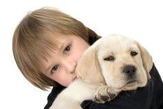 Filhote de cachorro da terra arrendada da criança Foto de Stock
