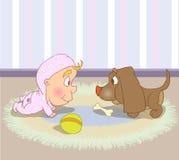 Filhote de cachorro e bebê Foto de Stock Royalty Free