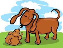 Filhote de cachorro e seus desenhos animados da mamã do cão Fotografia de Stock