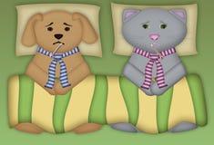 Filhote de cachorro e vaquinha doentes Fotografia de Stock Royalty Free