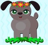Filhote de cachorro tropical com Headband da flor ilustração royalty free