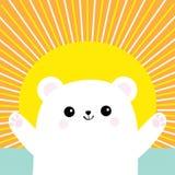 Filhote de urso pequeno pequeno branco polar Alcance para um abraço Caráter bonito do bebê dos desenhos animados Abra a mão pront ilustração royalty free