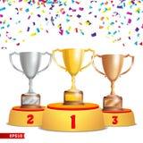 filiżanek podium trofeum Złoty, Brązowy, srebro Zwycięzcy piedestału pojęcie Z Najpierw, Drugi, I Na Trzecim Miejscu nagradzający royalty ilustracja