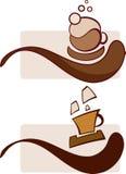 Filiżanek sumbols parujące filiżanki kawy, cappuccino i kawa espresso, ilustracji