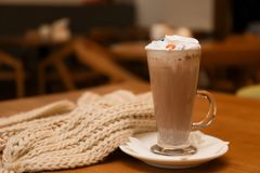 Filiżanka aromatyczny cacao i trykotowy szalik fotografia royalty free