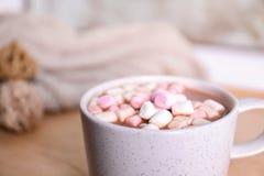 Filiżanka aromatyczny cacao z marshmallows zdjęcia royalty free