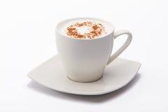 Filiżanka biała kawa z czekoladą Obraz Stock