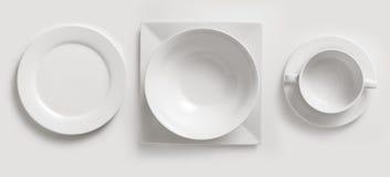 filiżanka ceramiczni talerze Zdjęcie Royalty Free