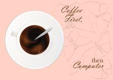 Filiżanka czarna kawa lub czekolada Realistyczny wektor na wzorze Pojęcie Kawowy czas w ranku ilustracja wektor