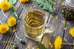 Filiżanka dandelion herbata z świeżym dandelion kwitnie fotografia stock