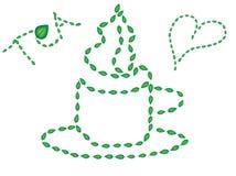 Filiżanka gorąca herbata malował z liśćmi Zdjęcie Stock