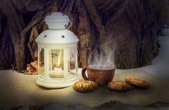Filiżanka gorąca kawa blisko lampionu z świeczką w drewnach przy nocą Jedzenie podczas gdy podróżujący w woods_ obraz royalty free