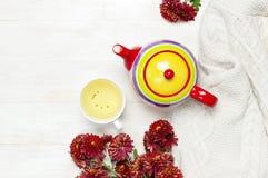 Filiżanka gorąca ziołowa herbata, jaskrawy barwiony teapot, trykotowa szkocka krata lub pulower, czerwona jesieni chryzantema kwi fotografia stock