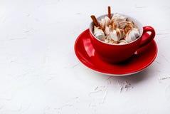 Filiżanka gorący kakao z marshmallow zdjęcia royalty free