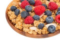 Filiżanka granola z migdałami i świeżymi jagodami Zdjęcie Royalty Free