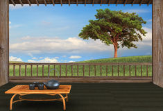 Filiżanka herbata i mennica z ładnym tłem Fotografia Stock