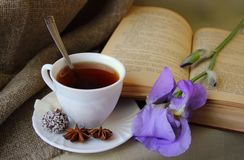 Filiżanka herbata i otwiera książkę fotografia royalty free