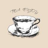 Filiżanka herbata ręka patroszona również zwrócić corel ilustracji wektora Obraz Stock