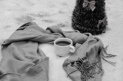 Filiżanka herbata, szalik i mała sztuczna choinka, obraz stock