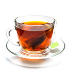 Filiżanka herbata z herbacianą torbą odizolowywającą na bielu Zdjęcie Stock
