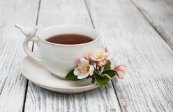 Filiżanka herbata z jabłczanymi okwitnięciami obrazy stock