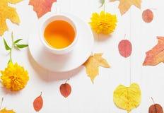 Filiżanka herbata z jesień liśćmi na drewnianym tle Zdjęcie Royalty Free