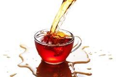 Filiżanka herbata z pluśnięciem odizolowywającym Obrazy Royalty Free