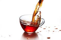 Filiżanka herbata z pluśnięciem odizolowywającym Zdjęcia Royalty Free