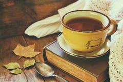 Filiżanka herbata z starą książką obraz royalty free