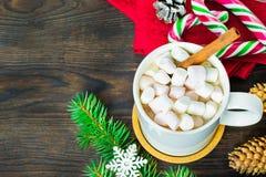 Filiżanka kakao z marshmallows, lizakami, jodłą, sosnowymi rożkami, choinki gałąź i płatek śniegu na drewnianym tle, obrazy stock