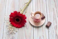 Filiżanka kawy, cukierek i gerbera, zdjęcie stock