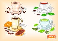 Filiżanka kawy, czekolada, czerń i zielona herbata, ilustracja wektor