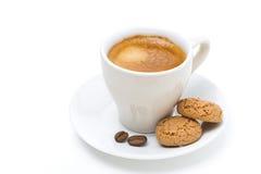 Filiżanka kawy i biscotti odizolowywający, Fotografia Stock