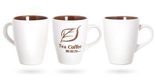 Filiżanka kawy i herbata odizolowywający na białym tle Obrazy Stock