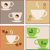 Filiżanka kawy i zielona herbata Obrazy Royalty Free