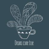 Filiżanka kawy lub herbata Sen przychodzą prawdziwego tekst Royalty Ilustracja
